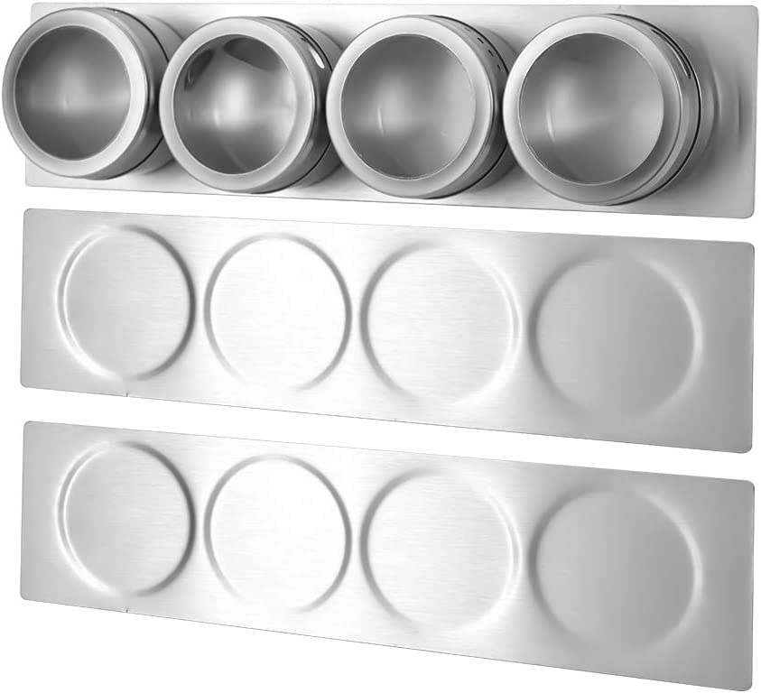 Amazon Com Hefantu 3 Magnetic Spice Rack Wall Mount Stainless Steel Spice Containers Wall Base For Magnetic Spice Tins Tins Not Included Kitchen Dining