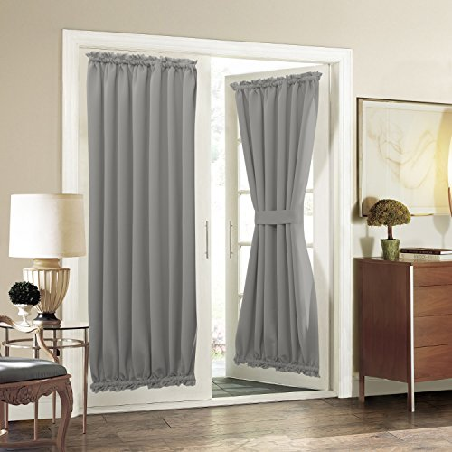 Aquazolax Noise Reducing Solid Blackout Patio Door Curtain Panel, 1 Piece, 54 by 72-Inch, Light Grey