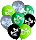 Nerdy Words Dragon Balloons (16 pcs) (Silver, Black, Green & Lime)