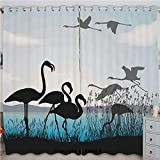 Homenon Flamingo Silhouettes Walking Flying Waterfront and The River Reed Bed Printed Curtain Set of 2 Panels(100'x 96' Black Light Blue Grey