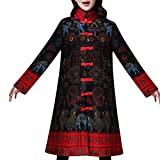 Toimoth Women Stand Collar Chinese Style Costume Plus Size Winter Button Coat Folk-Custom Cotton-Padded Jacket(BlackA,M)