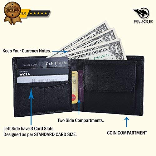 Ruge Genuine Leather RFID Blocking Men's Wallet - Antique Brown 5