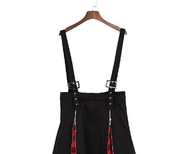 Punk Rock Gothic Summer Women Plaid Zipper Suspender Skirt A Line Mini Skirts Black One Size Amazon Co Uk Clothing