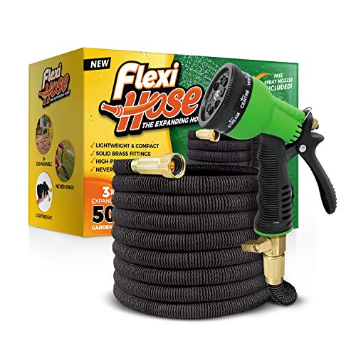 Flexi Hose Upgraded Expandable Garden Hose, Extra Strength, 3/4' Solid Brass Fittings - The Ultimate No-Kink Flexible Water Hose, 8 Function Sprayer Included
