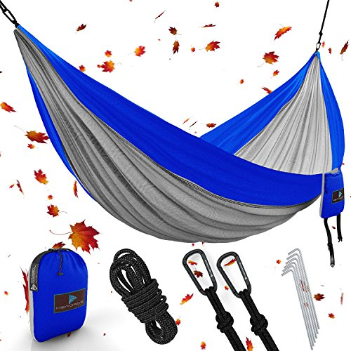 ONE DAY SALE! Double Camping Hammock Waterproof Lightweight Parachute 240T Portable Hammock, 2 Heavy-Duty 1500 lbs Capacity Carabiners, with 2 Tree ropes For Outdoor, Backpacking & Indoor 118'L78'W