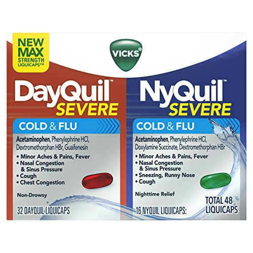 Vicks DayQuil and NyQuil Severe Cough, Cold & Flu Relief, 48 LiquiCaps (32 DayQuil & 16 NyQuil) - Relieves Sore Throat, Fever, and Congestion, Day or Night