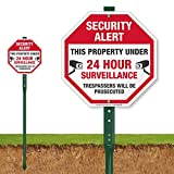 SmartSign'Security Alert - This Property Under 24 Hour Surveillance, Trespassers Will Be Prosecuted' Sign for Lawn | 10' Octagon Aluminum Sign with 3' Stake [New]