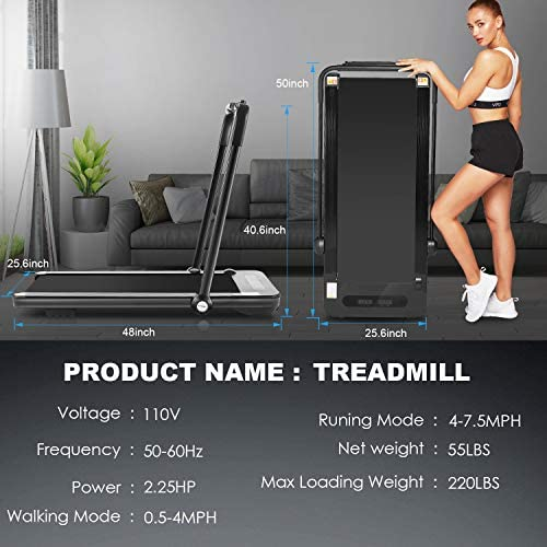 Folding Treadmill,Under Desk Treadmill for Home,2-in-1 Running,Walking & Jogging Portable Running Machine with Bluetooth Speaker & Remote Control,5 Modes & 12 Programs,No Assembly Required 6