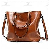 Silk Dell Women's Banquet Top Leather Handbags Shoulder Messenger Tote Cosmetic Bag Purses (Brown)