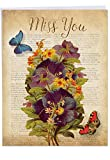 Fluttering Words - Beautiful Miss You Greeting Card with Envelope (Big 8.5 x 11 Inch) - Vintage Floral Stationery - Thinking of You Card J6477AMYG