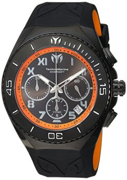Technomarine Men's Manta Stainless Steel Quartz Watch with Silicone Strap, Black, 31 (Model: TM-215072)