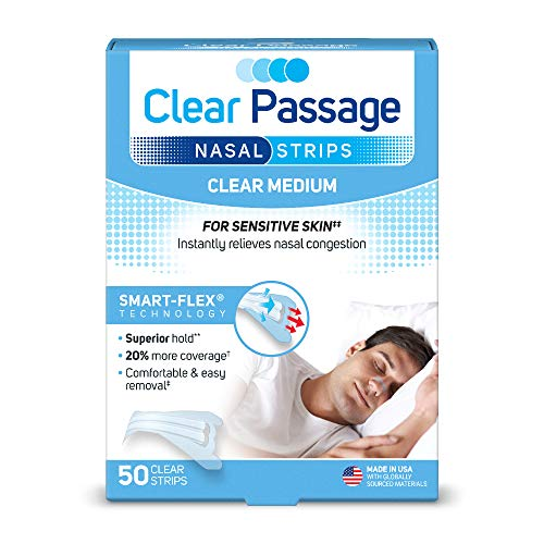 Clear Passage Nasal Strips Medium, Clear, 50 ct | Works Instantly to Improve Sleep, Reduce Snoring, Relieve Nasal Congestion Due to Colds & Allergies (Medium)