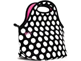 BUILT LB31-BBW Gourmet Getaway Soft Neoprene Lunch Tote Bag - Lightweight, Insulated and Reusable Big Dot Black & White