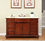 Product review for Silkroad Exclusive Creamy Marble Stone Single Sink Bathroom Vanity with Furniture Cabinet, 60-Inch