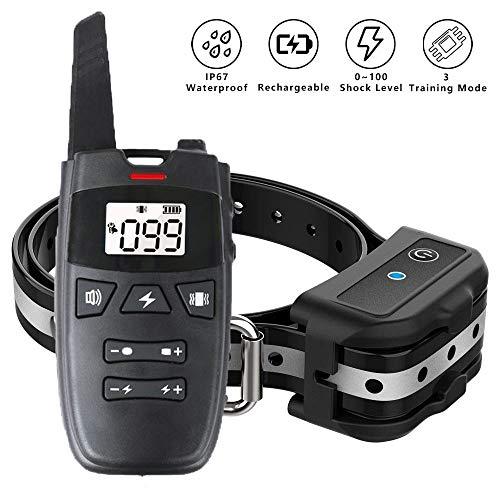 SKHTO Dog Training Collar, Dog Shock Collar w/3 Training Modes, Beep, Vibration and Shock, New Upgraded Smart Chip, 0~100 Shock Levels Training Set 1