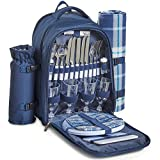 VonShef 4 Person Outdoor Picnic Backpack Bag Set with Insulated Cooler Compartment - Includes Picnic Blanket, Detachable Bottle Wine Holder, Flatware and Plates - Navy Tartan