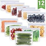 12 Pack Reusable Storage Bags, Glamfields Waterproof Reusable Snack Bags Leakproof Freezer Ziplock Bags Food Grade PEVA Lunch Bags for Sandwich and Fruit (12 Pack)