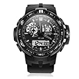 Men's Digital Sports Watch, Outdoor Waterproof Military Tactical Watch with Dual Time Display