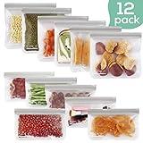 SPLF 12 Pack FDA Grade Reusable Storage Bags (6 Reusable Sandwich Bags, 6 Reusable Snack Bags), Extra Thick Leakproof Easy Seal Ziplock Lunch Bags for Food Storage Home Travel Organization