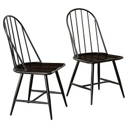 Target Marketing Systems Windsor Set of 2 Mixed Media Spindle Back Dining Chairs with Saddle Seat, Set of 2, Black…