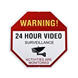 ULar XX1 Reflective Video Surveillance Sign Outdoor, Aluminum Waterproof, Rust Free, All Activities are Monitored, No Trespassing 24 Hour Video Warning Sign, 12' x 12',