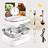 Electric Heating Lunch Box - Toursion Dual Use Car Home Office Portable Food Heater with Removable 304 Stainless Steel Container 110V&12V (Free Spoon & Fork)
