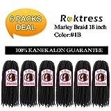 Roktress Marley Braids Hair 100% Kanekalon Synthetic Fiber Twist Crochet Marley Hair 65g/Pack (18'6pcs, 1B#)