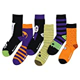 Womens Funny Funky Novelty Holiday Crew Socks (6 Pack) (Halloween'Trick or Treat')