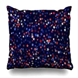 Ahawoso Throw Pillow Cover Flying Blue American USA President Day Star Dust Patriotic Holidays July Celebration Confetti Dark Home Decor Pillowcase Square Size 16 x 16 Inches Zippered Cushion Case