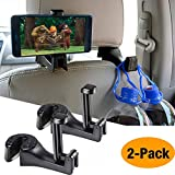 Car Hooks Car Seat Back Hooks with Phone Holder,OCUBE(2 Pack) Universal Vehicle Car Headrest Hooks Hanger with Lock and Phone Bracket for Holding Phones and Hanging Bag, Purse, Cloth, Grocery-Black ...