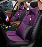 YRRC Luxury Car Seat Covers Leather Full Set Leatherette Breathable 5 Car Seat Covers Fit for Most SUV Sedan,Purple