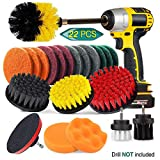22 Piece Drill Brush Attachment Set, JUSONEY Power Scrubber Drill Brush Kit, Scrub Brush With Extend Long Attachment, Scrubing Pads Cleaning Kit For Tile Sealants, Bathtub, Sinks, Floor, Wheels, Carpe