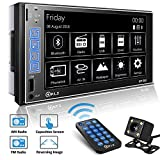 PLZ Double Din Car Stereo In-dash Digital Media Car Stereo Receiver with Bluetooth, 7'' Capacitive Touchscreen Digital LCD Monitor, MP5 Player/FM/Am/TF/USB/Aux-in, Remote and Backup Camera Included