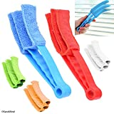 Window Blind Cleaner - 2 Clamps and 5 Removable Sleeves - Ideal Duster Cleaning Tool for Blinds, Shutters, Shades, Air Conditioner Vent Covers, etc. - Quick, Easy, Washable, Reusable - Firm Wipe