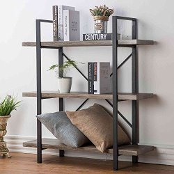 HSH 3-Shelf Bookcase, Rustic Bookshelf, Vintage Industrial Metal Display and Storage Tower, Gray Oak