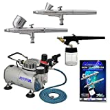 3 Airbrush Professional Master Airbrush Multi-Purpose Airbrushing System Kit - G22, G25, E91 Gravity & Siphon Feed Airbrushes, Hose, Air Compressor, Airbrush Holder - How-To-Airbrush Guide Booklet