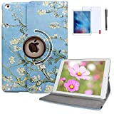 iPad 4th Generation Case with Bonus Screen Protector and Stylus 360 Degree Rotating Stand Protective Hard-Cover Folding Case with Auto Wake/Sleep Feature for 2nd/3rd/4th 9.7' (Almond Blossoms)