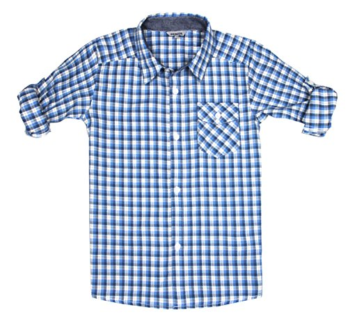 d2cee99709883d Bienzoe Jungen Baumwolle Plaid Aufgerollt Hülse Knopf Unten Hemd