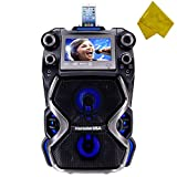 Karaoke USA Outdoor Portable Karaoke and Music Streaming PA Speaker System with Bluetooth, 7' Color Screen, and Record Function