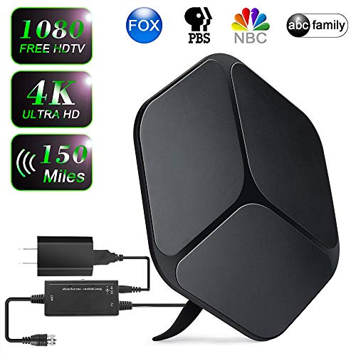 【2019 Upgraded】 HDTV Antenna Indoor Digital TV Antenna, 150+ Miles Range HD Antenna with Detachable Amplifier Signal Booster and 16FT Coaxial Cable - Extremely High Reception(Black)