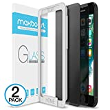 iPhone 8 7 Screen Protector, Maxboost [2-Pack] Tempered Glass Privacy Screen Protector for iPhone 8, iPhone 7 2016 2017 Anti-Spy/Scratch/Fingerprint Fit Most Case 99% Touch Accurate - Privacy Black