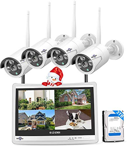 Hiseeu-8CH-Expandable-All-in-one-with-12-LCD-Monitor-Wireless-Security-Camera-System-Home-Business-8CH-1080P-NVR-Kit-4pcs-2MP-Outdoor-Bullet-IP-Cameras-Night-Vision-Waterproof3TB-Hard-Drive