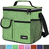 OPUX Lunch Bag Insulated Lunch Box for Women, Men, Kids | Medium Leakproof Lunch Tote Bag for School, Work | Lunch Cooler with Shoulder Strap, Pocket | Fits 20 Cans (Tall Green)