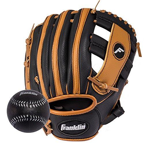 Franklin Sports  RTP Teeball Performance Gloves & Ball Combo, Black/Tan, 9.5', Right Hand Throw