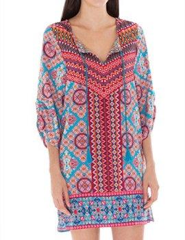 3e8fbf4ce1e9c Bohemian Queen Boho Print Tunic Top Split Neck With Tassel String 3/4 Sleeve