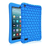 Fintie Silicone Case for Amazon Fire 7 Tablet (Previous Generation - 7th, 2017 Release) - [Honey Comb Upgraded Version] [Kids Friendly] Light Weight [Anti Slip] Shock Proof Protective Cover, Blue