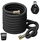 Crenova Garden Hose,50 Feet Upgraded Expandable Water Pipe with Double Latex Core,3/4 inch Solid Brass Connectors,Easy Dry Storage Bag and Durable Holder-Not Include Hose Nozzle