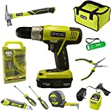Ryobi Household Tool Set Bundle with Ryobi 18V ONE+ Drill, Drill Bits, Household Tools and Buho Pocket Flashlight