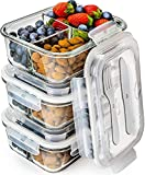 Glass Meal Prep Containers 3 Compartment - Bento Box Containers Glass Food Storage Containers with Lids - Food Containers Food Prep Containers Glass Storage Containers with lids Lunch Containers 3pk