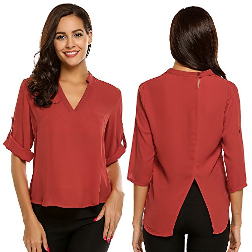 Zeagoo Women's Loose Solid Chiffon Blouses V Neck Cuffed Sleeve Shirts Tops (Red, Small)